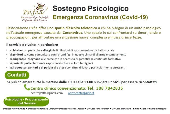 Sostegno Psicologico Emergenza Coronavirus (COVID-19)