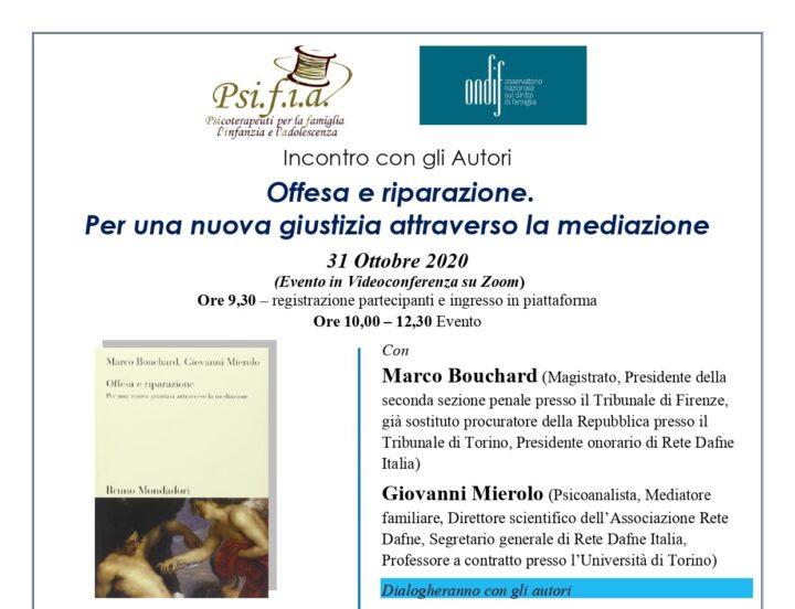 """Incontro con l'Autore:  """"Offesa e riparazione.  Per una nuova giustizia attraverso la mediazione""""  – Evento online"""