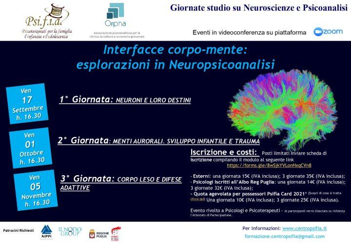 Giornate studio su Neuroscienze e Psicoanalisi – Interfacce corpo-mente: esplorazioni in Neuropsicoanalisi Sett-Nov 2021